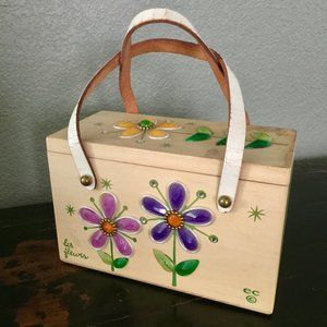 Enid Collins wood box handbag jeweled Les Fleurs
